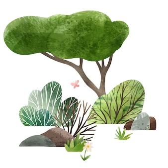 수채화 숲 요소 손으로 그린 그림