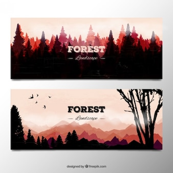 Watercolor forest landscape silhouttes banners