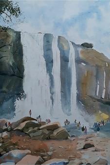 水彩噴水風景ビュー