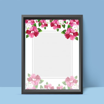 Watercolor fowers decorated frame.