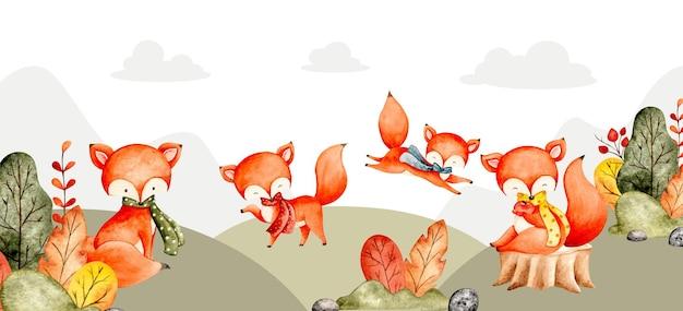 水彩キツネと秋の風景バナー
