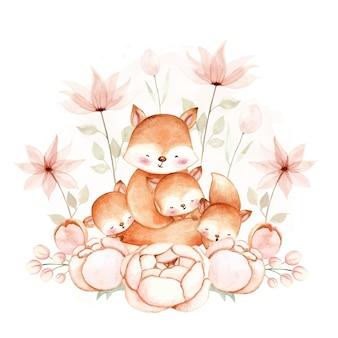 水彩キツネとその赤ちゃん