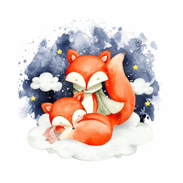 雲の上で眠っている水彩キツネ