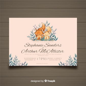 Watercolor fox wedding invitation template