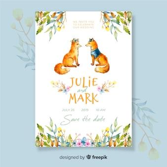 Watercolor foxes wedding invitation template