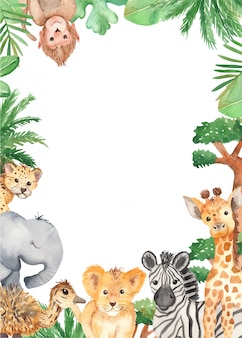 Watercolor frame cute cartoon animals of africa