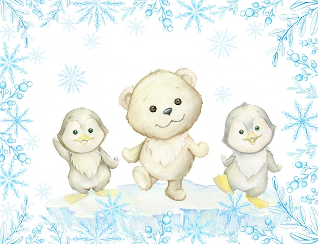 수채화 프레임. 귀여운 북극 동물, 북극곰과 펭귄, 춤.