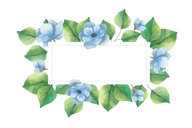 Акварельная рамка приглашение из синих цветов анемона и зеленых веток