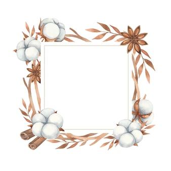 Акварельная рамка-приглашение из цветов хлопка, аниса и веточек в коричневых тонах