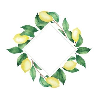 レモンと緑の枝、葉の水彩画フレームへの招待。白い背景で隔離の菱形フレーム
