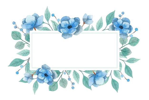 Watercolor frame invitation on a white background. blue anemone flowers and turquoise twigs. vector illustration