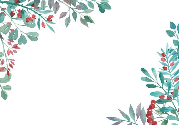 Акварельная рамка из цветов магнолии