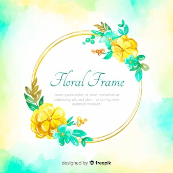 Watercolor frame spring background