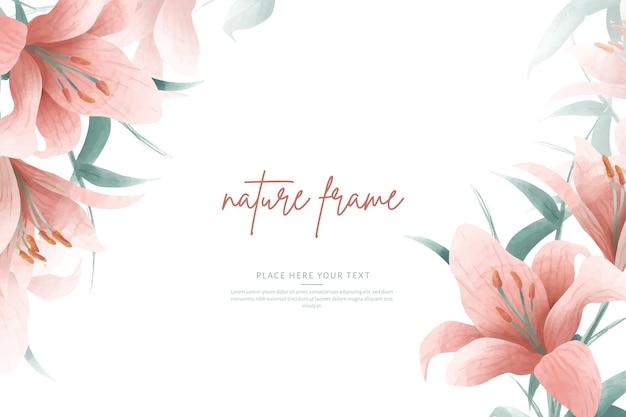 분홍색 백합 및 잎 수채화 프레임 템플릿