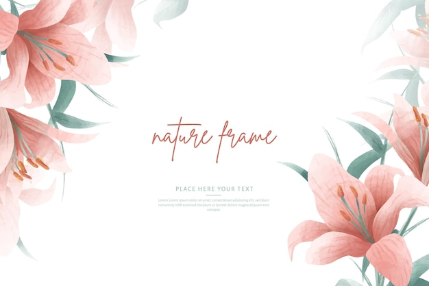 Watercolor frame template with pink lilies and leaves