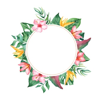 Watercolor frame tropical leaves and flowers