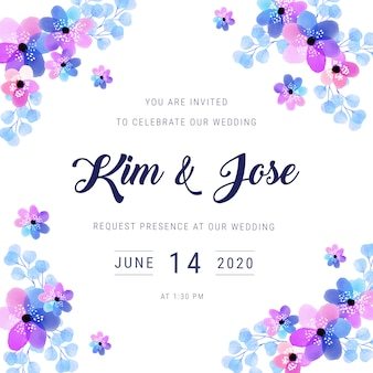 Watercolor frame wedding invitation