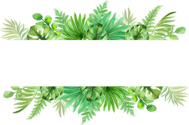 Watercolor frame with beautiful tropical exotic leaves