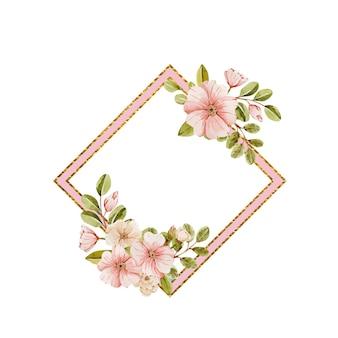 섬세한 핑크 꽃 수채화 프레임