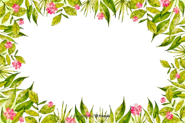 Watercolor frame with flowers background