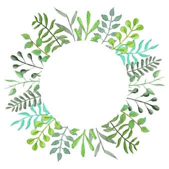 Акварельная рамка с зелеными листьями и ветвями