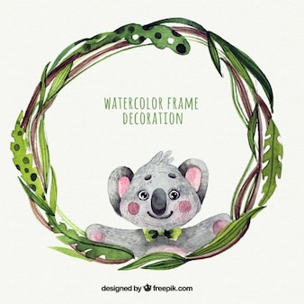 Watercolor frame with a koala