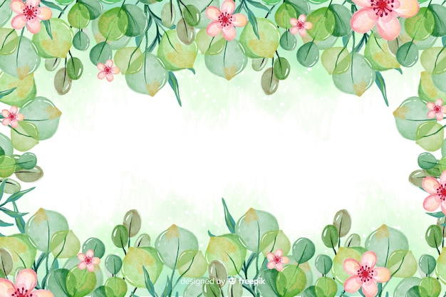 Watercolor frame with lovely flowers background