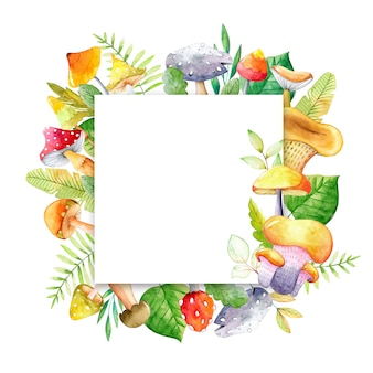 Watercolor frame with mushroom and leaves