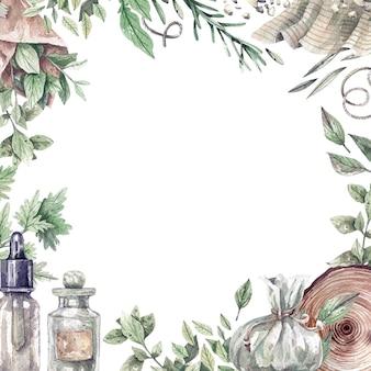 Акварельная рамка с аптечной бутылкой и органическими здоровыми травами. зеленые и сухие травы для ароматерапии, медицины, органической косметики. продукт для здоровья