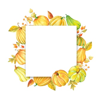 Watercolor frame with pumpkins and leaves