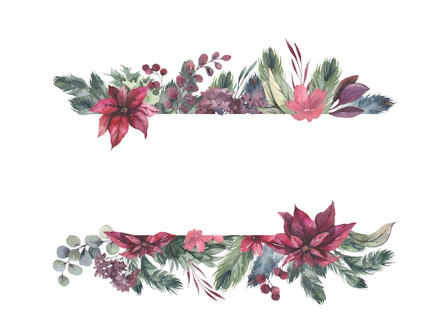 赤い花と緑の葉と水彩フレーム。
