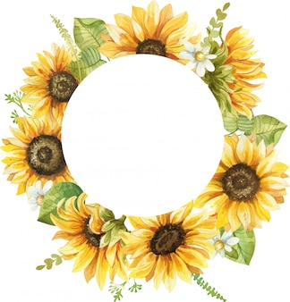 Watercolor frame with sunflower hand painted illustration