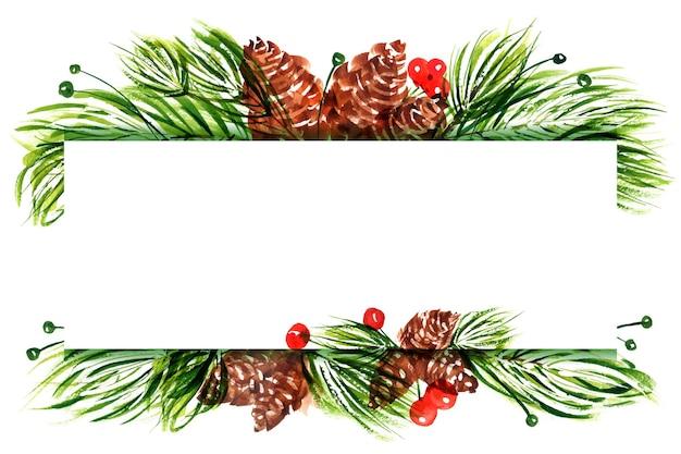 Акварельная рамка с пространством для текста для милых рождественских и новогодних поздравлений и приглашений. новогодняя цветочная композиция с сосновыми шишками и ветвями.