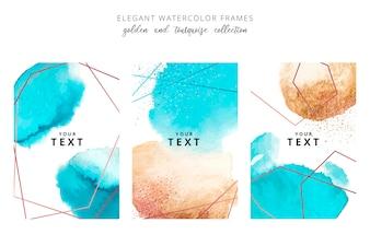金色と三色の水しぶきの水彩画フレーム