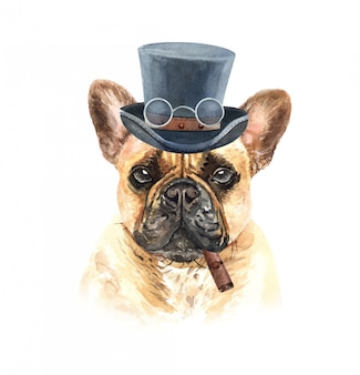 39305110fd6 Watercolor french bulldog with glasses cigar and top hat.