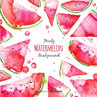 Watercolor fresh watermelon background