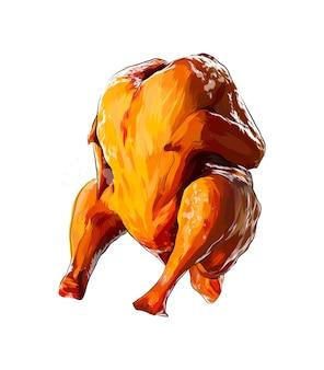 白地に鶏肉を丸ごと揚げた水彩画