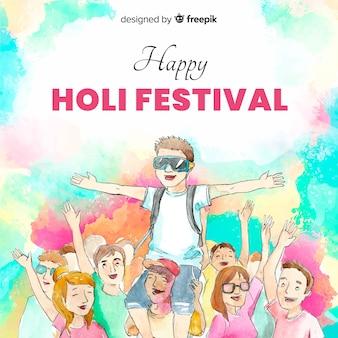 Watercolor friends holi festival background