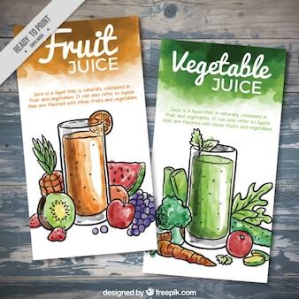 수채화 과일 및 야채 주스 전단지