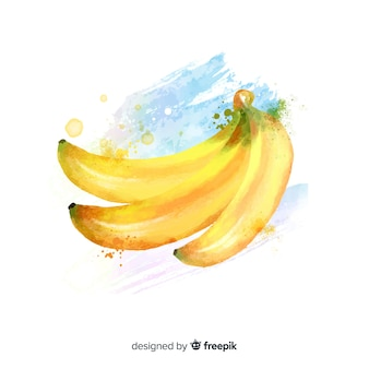 Watercolor fruit background with bananas