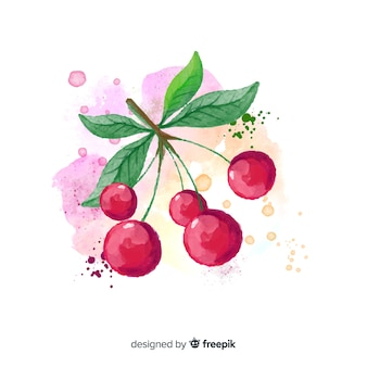 Watercolor fruit background with cherries