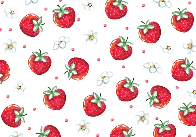 Watercolor fruit background with flowers