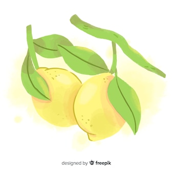 Priorità bassa della frutta dell'acquerello con limoni