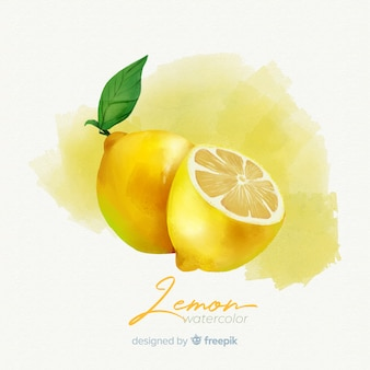 Watercolor fruit background with lemons