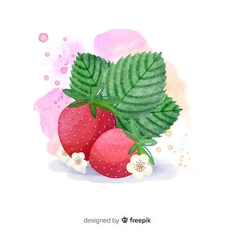 Watercolor fruit background with strawberries