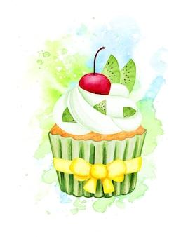 Набор акварели фруктовый торт