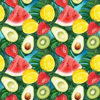 水彩フルーツ カラフル トロピカル パターン
