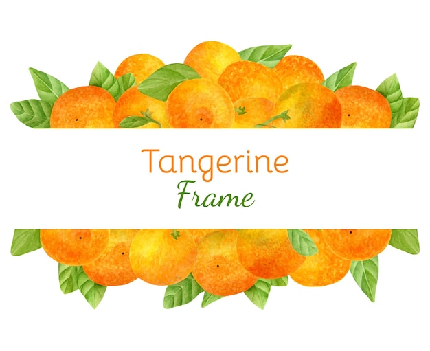 Watercolor fruit frame with juicy tangerines
