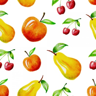 Watercolor fruit seamless pattern design