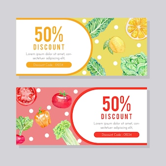 Watercolor fruit and vegetable flyer template